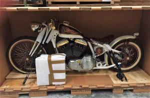 Vintage Motorcycle Crated for Transport