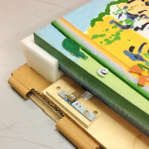 Suspended artwork crate detail