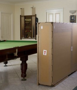 billiard table crated for overseas transport